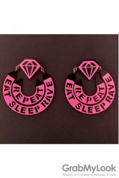 Oversized Giant Pink Diamond Repeat Rave Eat Sleep Ring Punk Rock Disco Hip Hop Earrings Ear Drops