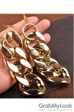 Oversized Giant Punk Rock Gold Metallic Chain Disco Hip Hop Ear Rings Earrings Ear Drops