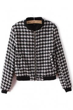 Black White Houndstooth Checkers Woolen Baseball Aviator Bomber Rider Jacket