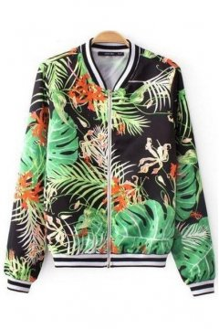 Black Green Exotic Palm Leaf Baseball Aviator Bomber Rider Jacket