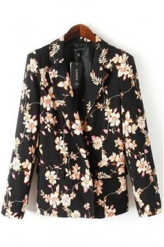 Black Vintage Flowers Floral Long Sleeves Jacket Blazer