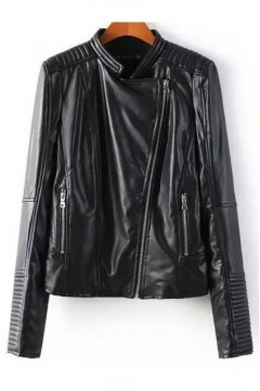 Black Faux Leather PU Rider Silm Waist Jacket