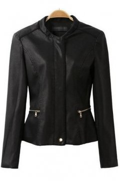 Black Faux Leather PU Cropped Rider Jacket Blazer