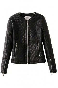 Black Faux Leather PU Quilted Cropped Rider Jacket Blazer