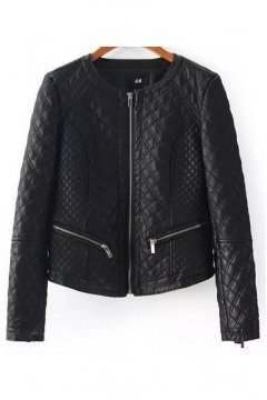 Black Faux Quilted Leather PU Cropped Rider Jacket