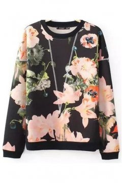 Black Pink Roses Flower Long Sleeves Round Neck Sweatshirt Sweater