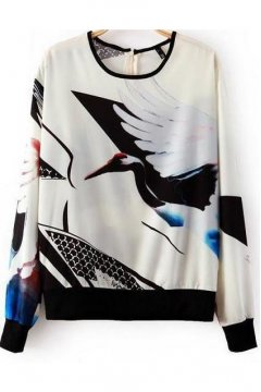 White Swallow Bird Long Sleeves Winter Sweatshirt Sweater