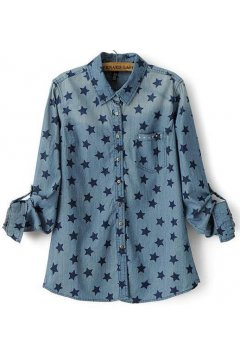 Washed Denim Blue Jeans Stars Long Sleeves Shirt Blouse