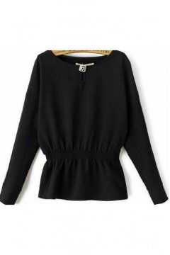 Black Waist Band Long Sleeves Winter Sweatshirt Sweater