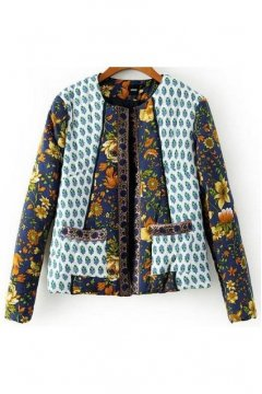 Colorful Quilted Floral Flowers Tribal Retro Embroidered Vintage Pattern Long Sleeves Jacket