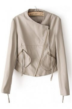 Cream Faux Leather PU Cropped Rider Jacket