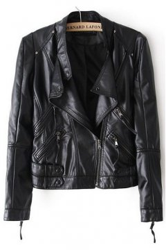 Black Faux Leather PU Cropped Rider Jacket