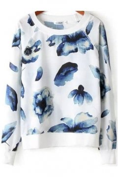 White Blue Flower Petals Long Sleeves Winter Sweatshirt Sweater
