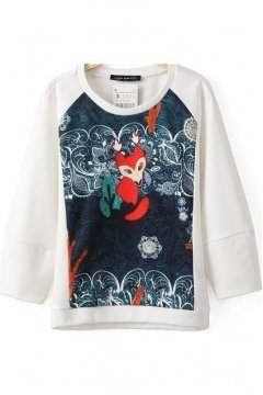 Black White Red Fox Jungle Long Sleeves Winter Sweatshirt Sweater
