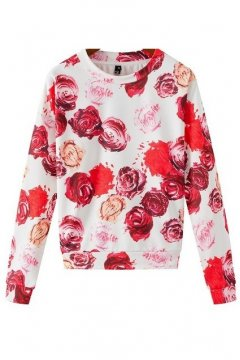 White Red Roses Flower Petals Long Sleeves Winter Sweatshirt Sweater