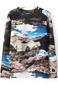 Black Mountain Scenery Landscape Long Sleeves Winter Sweatshirt Sweater