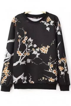 Black Tree Twig Flowers Long Sleeves Winter Sweatshirt Sweater