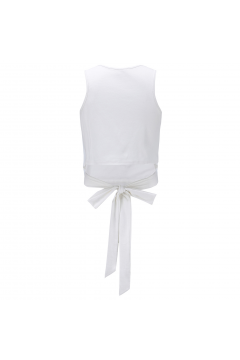 White Cropped Bow Sleeveless Cami Tank Top Shirt