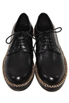 Leather Black Lace Up Punk Rock Gold Chain Oxfords Mens Shoes