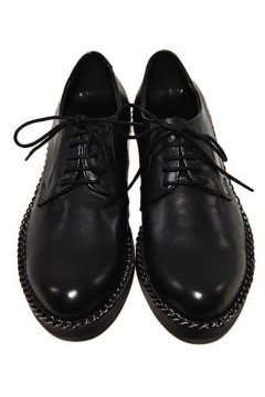 Leather Black Lace Up Punk Rock Black Metal Silver Chain Oxfords Mens Shoes