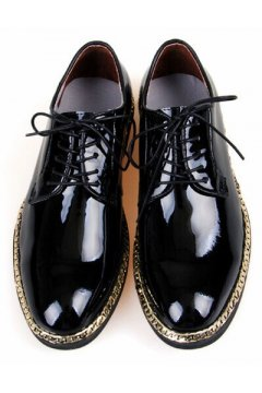 Patent Shiny Leather Black Lace Up Punk Rock Gold Chain Oxfords Mens Shoes