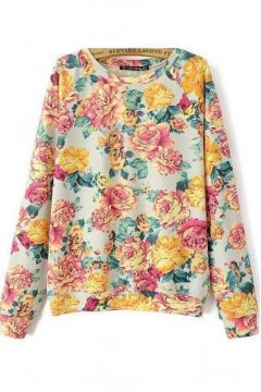 White Red Giant Roses Flower Long Sleeves Winter Sweatshirt Sweater