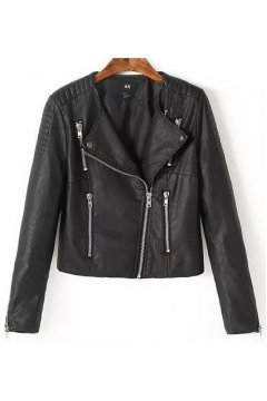 Black Faux Leather PU Cropped Zipper Rider Jacket