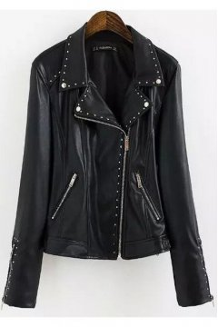 Black Faux Leather PU Metal Silver Studs Punk Rock Rider Jacket Blazer
