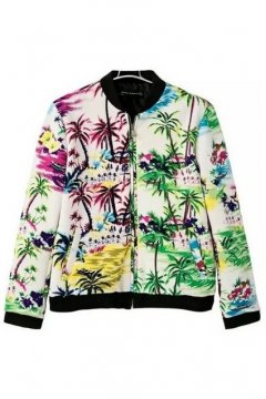White Oil Painting Flowers Floral Baseball Bomber Rider Jacket