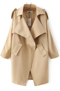 Beige Orange Military Army Long Sleeves Parka Jacket Blazer Trench Coat