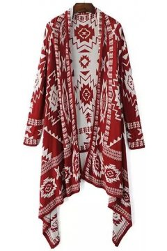 White Red Black Tribal Enthic Pattern Long Sleeves Knee Blouse Cardigan