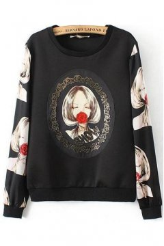 Black Cartoon Lady With Rose Long Sleeves Winter Sweatshirt Sweater