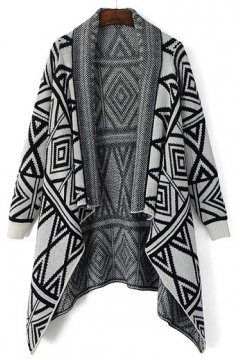 White Black Tribal Ethnic Pattern Long Sleeves Knee Length Blouse Cardigan