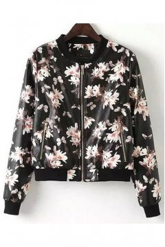 Black Faux Leather Pink Painting Flowers Rider Bomber Baseball Jacket