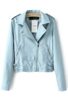 Blue Pink Cropped Faux Leather PU Rider Jacket