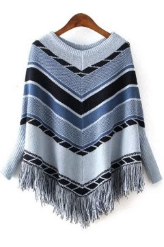 Blue Tribal Ethnic Pattern Tassels Long Sleeves Cape Cardigan Sweater