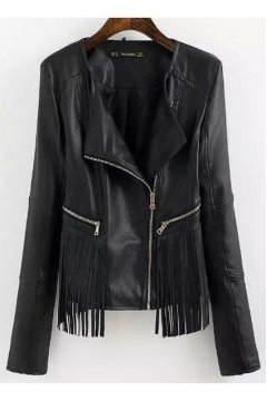 Black Faux Leather PU Fringes Rider Jacket Blazer