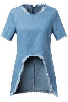 Washed Retro Denim Blue Jeans Fringes Cropped Long Back Short Sleeves Shirt Top