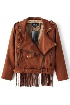 Brown Faux Suede Leather PU Fringes Cropped Rider Jacket Blazer