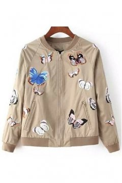 Brown Beige Embroideried Butterfly Baseball Aviator Bomber Rider Jacket