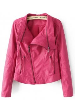 Black Pink Cropped Faux Leather PU Rider Jacket