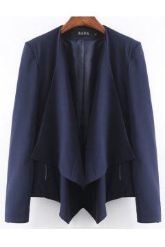 Navy Blue China Asymmetric Long Sleeves Jacket Blazer