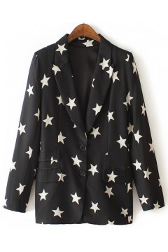 Black White Stars Long Sleeves Jacket Blazer