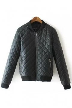 Black Faux Leather PU Quilted Zipper Rider Aviator Bomber Baseball Jacket