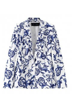 White Blue China Vase Antique Long Sleeves Jacket Blazer