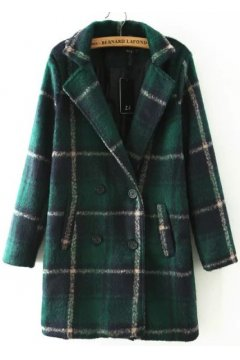 Green Black Checkers Plaid Tartan Long Sleeves Woolen Jacket Blazer Coat