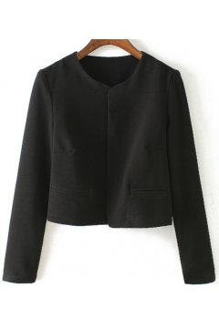 Black Pink Cropped Long Sleeves Blazer Jacket