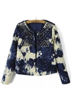 Blue White Quilted Tie Dye Floral Flowers Tribal Retro Vintage Pattern Long Sleeves Jacket