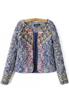 Blue Quilted Floral Flowers Tribal Retro Vintage Pattern Long Sleeves Jacket