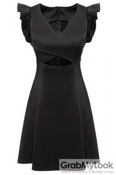 Black V Neck Ruffles Sleeveless A Line Mini Skirt Skater Pleated Cocktail Dress